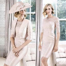 Wholesale John Charles Cheap Mother Of The Bride Dresses Pink Half Sleeve Sheath Knee Length Mother s Formal Wear Lace Applique Mothers Gowns