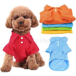 Capas superiores del traje en Línea-2016 Nuevos 6 colores Polo camiseta del animal doméstico del perrito juego ropa de traje traje de ropa de las tapas de la capa para el tamaño del gato del perro XS S M L XL Envío libre