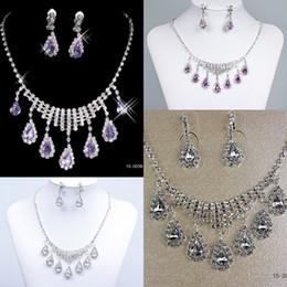 Mariage met en vente à vendre-Vente en gros Ensembles de bijoux mariage nuptiale Prom Rhinestone bijoux en cristal collier boucle d'oreille Set accessoires de mariée Hot Sale 15003