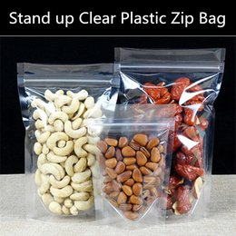 100pcs lot 160micron Stand up Clear Plastic Ziplock Bag Transparent Plastic Gift Packaging Bag Moisture-proof Food Display Bag