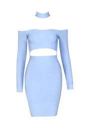 2016 New blue black light pink Choker Halter Off The Shoulder Long Sleeve Mini Style HL Bandage Celebrity Cocktail Dress