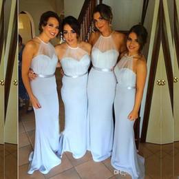 2018 Sheer Tulle Halter Neckline Chiffon Cheap Long Mermaid Bridesmaid Dresses With Sash Formal Wedding Party Bridesmaids Dresses