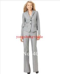 NEW! Two Button Flap Pocket Blazer & Straight Leg Trousers Tailor Custom Women Suit Light Gray Women Suit 674