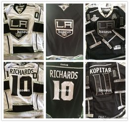 Wholesale 3 Styles Los Angeles Kings Hockey Jerseys Mike Richards Anze Kopitar White Black Champions Authentic LA NHL Jersey
