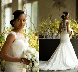 Amazing African Style Lace Wedding Dresses 2016 Sheer Neck Back Covered Buttons Bridal Gowns Plus Size Sweep Train Newest Wedding Dresses