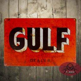 Wholesale Tin signs quot Gulf Dealer quot Oil Gas Pump Metal Parts Service Auto Shop Garage Wall Decor
