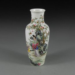 Wholesale Antique Chinese Porcelain Vase with Hand painted Ancient Beauty Painting Home Decor Ceramic Art Collection