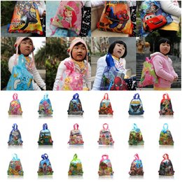 Wholesale Free DHL Bubble Guppies Minions Princess Super Mario Spiderman Children Drawstring Backpacks School Party Bags CM Kids Best Gift