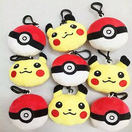 Wholesale Poke Plush toys Pikachu Elf Ball keychain Pendant pikachu Elf Ball Stuffed Animals Plush Toys keyring cm inch
