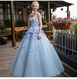 light blue petals strap shoulder luxury medieval dress ball gown siss princess Gown queen Cosplay Victorian Belle ball