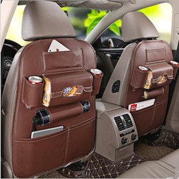 Wholesale Newest Luxury Full Natural Leather Car Seat Back Organiser Multi function Storage Bag Car Seat Pocket Available For All Cars
