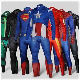 Wholesale American Super Hero Cylcing Jerseys Sets Spidermen Ironmen Batman American Captain Cycling Clothing Tight Suit Long Sleeve Winter Thermal Su