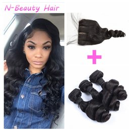 Wholesale 3 Bundles With Closure Brazilian Loose Wave Human Hair Extensions Weave With Silk Base Closure No Shedding No Tangle