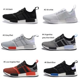 Wholesale New NMD R1 PK Footwear All black All White Running Shoes Los Angeles Red Sneakers Sao Paulo White Blue Sports Shoes Men Women US11 EU46