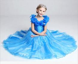 Cenicienta niños vestido del partido en venta-2016 niños del niño del bebé del verano embroma el vestido de Cachemira de la mariposa Paillette Cinderella de la princesa Cosplay Gown del vestido que envía libremente
