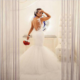Gorgeous Illusion Back Mermaid Wedding Dress Plus Size Spaghetti Straps Lace Appliques Puffy Tulle Skirt Arabic Bridal Gowns Sleeveless