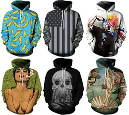 Wholesale 2016 Newest Men s Hoodies Sweatshirts With Hat Street Fashion Sports D Patterns Print Athletic Sweater Workout Training Galaxy Print M XL