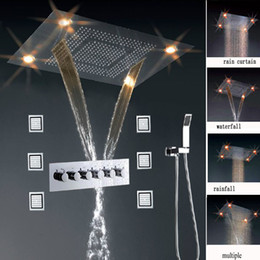 luxury led color change remote control stainless steel multi function bathroom accessory rainfall waterfall body shower systems