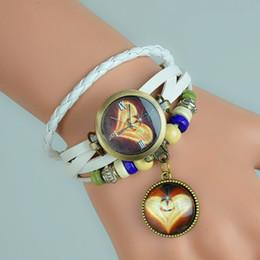 Descuento cuero reloj pulsera corazón Envoltura libre de la armadura de la muchacha de las mujeres encantadoras retras del corazón del brazalete de la pulsera de cuarzo de los nuevos amantes del envío libre alrededor del color de cuero del reloj 8