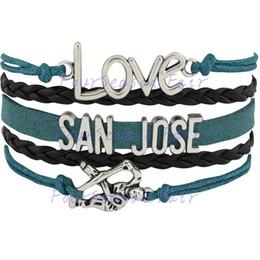 Custom-Infinity Love National Hockey League San Jose Sharks Team Bracelet Ice Hockey Player Fans Adjustable Bracelet Bangles-Drop Shipping