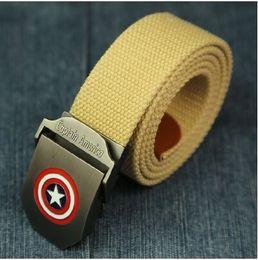New Fashion Superhero Captain 110cm brand belt Buckle Army Style Mens Womens Boys Unisex Sports Canvas Belt