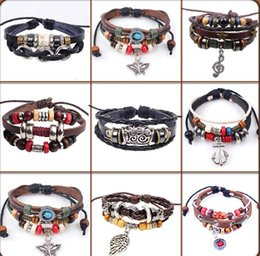 Wholesale 30pcs new Designs Leather Bracelet Antique Cross Anchor Love Peach Heart Owl Bird Believe Pearl Knitting Bronze Charm bracelets