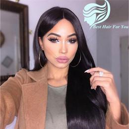 Descuento cordón lleno recta superior de seda Straight 4x4 Silk Base Peluca Peruvian Virgin Hair Gluelelss Silk Top Completo Lace Wigs / Lace Front Pelucas De Pelo Humano Con Pelo Del Bebé