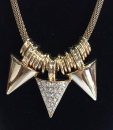 Wholesale New triangle charms statement necklace with mesh chain string big O rings center triangle have clear glass stones