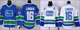 Promotion choix de sports 2016 Meilleur choix Vancouver Canucks # 16 Trevor Linden blanc bleu maison, loin et 3e sport hockey chandails à vendre cousus, taille S-3XL