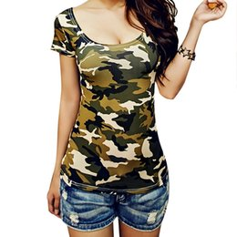 Summer Style T-shirts for Women Sexy U-neck Camouflage T shirt Short sleeved T-shirt Print Ladies Tops Shirt Plus size camiseta