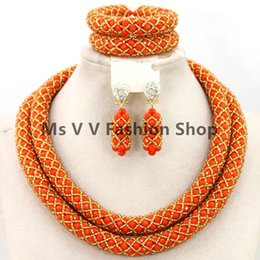 2 layers Luxury Dubai orange Gold Bridal Jewelry Set African Beads Costume Jewelry Set African Fashion Jewelry Set for Women Free Shipping