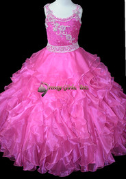 2016 Spring New Spaghetti Scoop Neck Organza Little Girl's Pageant Dresses Cute Crystal Lace For Birthday Wedding Kids Flower Dresses