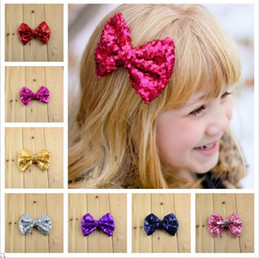Baby barrettes new Europe and cute girls children Flash Hair accessories sequins hairpin large bow hair jewelry 24 colors