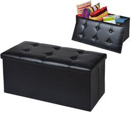 Wholesale Faux Leather Storage Bench Sofa Seat Folding Foot Stool Footrest Black