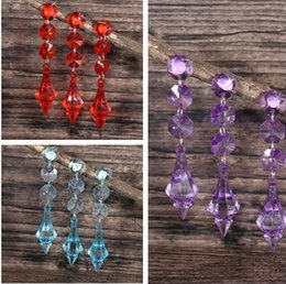 Wholesale 4 Colous choose Acrylic Crystal Clear Beads Garland Octagonal Beaded Strand Hanging Curtain For Wedding Party Decoration Favor