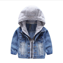 Wholesale Baby Boys Girls Jeans Denim Jackets Hoody Cardigan Cowboy Coat Kids Children Top Clothes with Hat