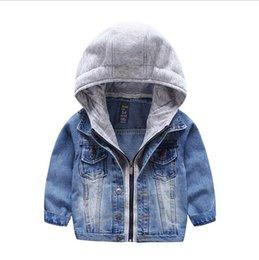 Acheter en ligne Bébé cowboy vêtements-Bébés Garçons Filles Jeans Denim Vestes Hoody Cardigan Cowboy Coat Enfants Enfants Top Vêtements avec Hat