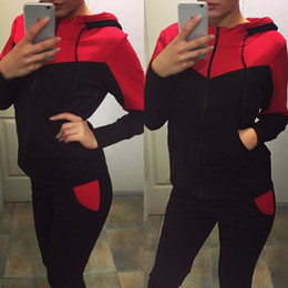 2016 New Autumn and Winter Tracksuits for Women Fashion Splicing Tops+Pants Casual Hoodies Sport 2 Piece Set