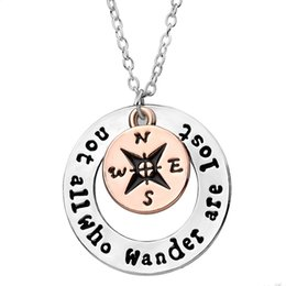 Wholesale Hot Wanderlust Handstampe Travelers Compass Pendant Necklace Wanderlust quot Not All Who Wander Are Lost quot Inspirational Jewelry