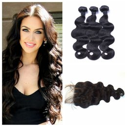 Brazilian Human Hair With Closure 8-30 inch Double Weft Human Hair Extensions Dyeable Brazilian Body Wave Hair Bundles With Closure G-EASY