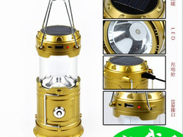 Wholesale 6LED Portable Solar Panel Rechargeable Batteries Pulling Camping Outdoor Lantern LIght For Hiking V x1 V AA Hot Selling