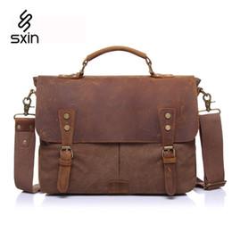 Vintage Men Canvas Bag Genuine Leather Briefcase Men Laptop Bag Cowhide Briefcase Business Travel Bags Maletin Portatil 2807