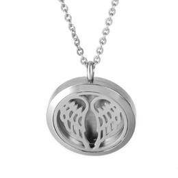 Acheter en ligne Anges ailes-Aromatherapy Diffuseur Collier Angel Wings Huile Essentielle Locket Pendentif avec 10PC Recharge Pads 316L en acier inoxydable