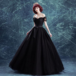 Gothic Style Black Wedding Dresses Ball Gown Off Shoulder Short Sleeve Sash Tulle Bridal Gowns Vestido De Noiva Custom