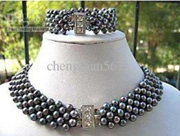 NEW Jewellery black real pearl necklace bracelet