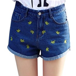 Wholesale 2016 Women Jeans Banana Embroidery Hot Denim Shorts Cute Summer Female Jeans Shorts Mujer Plus size S XL Curling Shorts Women