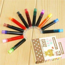 Cartuchos de tinta de la fuente al por mayor en venta-Venta al por mayor-8/12 piezas / cartuchos de tinta de tinta de pluma de color desechables recargas Recarga de lápiz de diseño universal