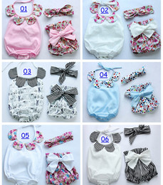 Wholesale New arrival baby toddler summer boutiques baby girls vintage floral ruffle neck romper cloth with bow knot shorts headband