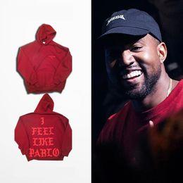 Hip Hop Hoodies I Feel Like Pablo Hoody Kanye West Hooded Sweatshirts Men Lovers Streetwear Red S-3XL Presale