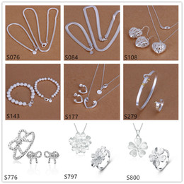Wholesale sterling silver jewelry sets 6 sets a lot mixed style EMS68,fashion 925 silver Necklace Bracelet Earring Ring jewelry set